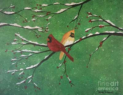Poster featuring the painting Winter Cardinals by Denise Tomasura