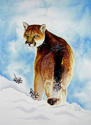 Winter Cougar Poster by Jimmy Smith