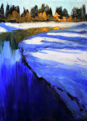 Poster featuring the painting Winter River by Nancy Merkle