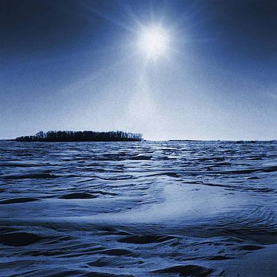 Winter Setting Sun Blue Toned Poster by Donald  Erickson