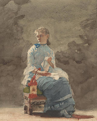 Woman Sewing Poster by Winslow Homer