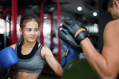 Woman Ttaining For Fitness Boxing Poster by Anek Suwannaphoom