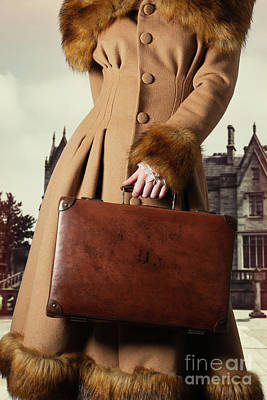 Woman With Suitcase Poster by Amanda Elwell