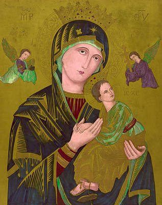 Woodcut Of The Virgin Mary, Titled S Poster by Everett