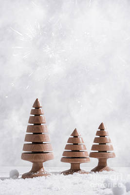Wooden Christmas Tree Decorations Poster by Amanda Elwell
