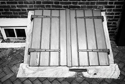 wooden door access to basement in elfreths alley in the old city of Philadelphia USA Poster