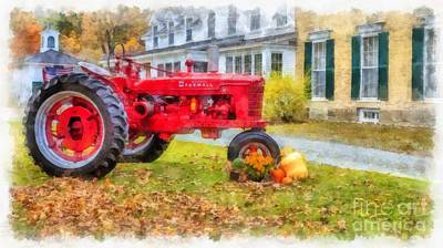 Woodstock Vermont Red Tractor Poster by Edward Fielding