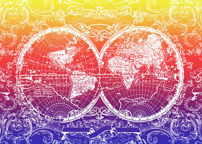 World Map Antique 5 Poster by Bekim Art