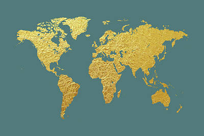 World Map Gold Foil Poster by Michael Tompsett