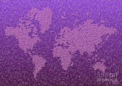 World Map Kotak In Purple Poster
