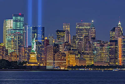 Poster featuring the photograph World Trade Center Wtc Tribute In Light Memorial II by Susan Candelario