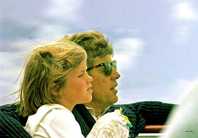 Yachting With John F. Kennedy And Caroline, Cape Cod, Ma Poster