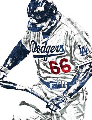 Yasiel Puig Los Angeles Dodgers Pixel Art Poster by Joe Hamilton