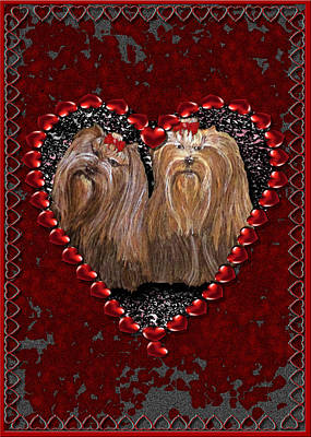 Poster featuring the digital art Yorkie Heart by Michelle Audas