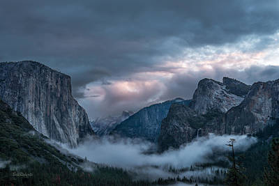 Yosemite In Clouds Poster by Bill Roberts