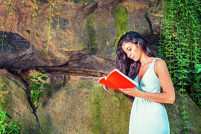 Young American Woman Reading Book At Central Park, New York, In  Poster