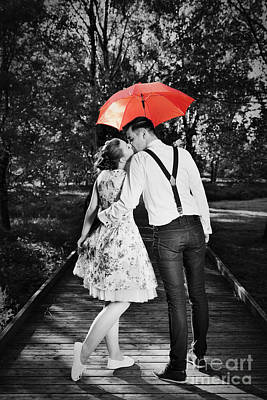 Young Romantic Couple In Love Flirting In Rain Poster by Michal Bednarek