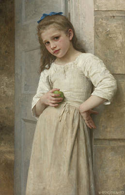 Yvonne On The Doorstep Poster by William-Adolphe Bouguereau