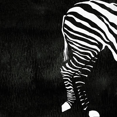 Zebra Animal Black And White Decorative Poster 9 - By  Diana Van Poster by Diana Van