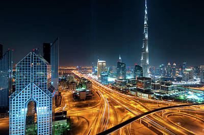 Amazing Night Dubai Downtown Skyline, Dubai, United Arab Emirates Poster