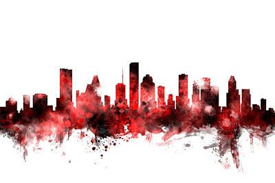 Houston Texas Skyline Poster by Michael Tompsett