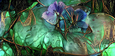 Jeweled Water Lilies Poster by Amy Cicconi