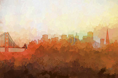 Poster featuring the digital art San Francisco California Skyline by Marlene Watson