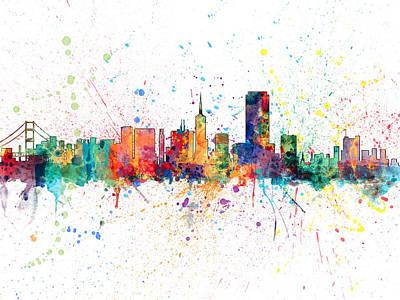 San Francisco City Skyline Poster by Michael Tompsett