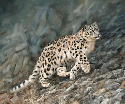 Poster featuring the painting Snow Leopard by David Stribbling