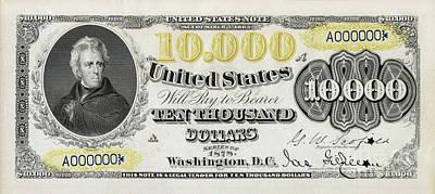 $10,000 Bill Circa 1878 Poster by Jon Neidert