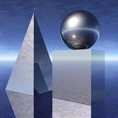 Basic Shapes, Cube, Sphere, Pyramid Still Life Poster by Harald Sund