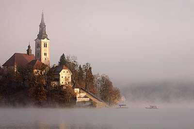 Misty Lake Bled Poster