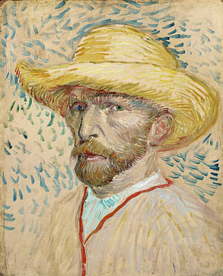Self - Portrait With Straw Hat Poster by Vincent Van Gogh