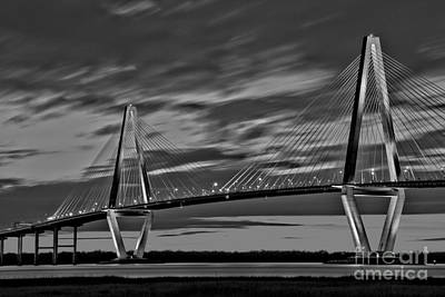 Ravenel Bridge Black And White Sunset Poster by Adam Jewell
