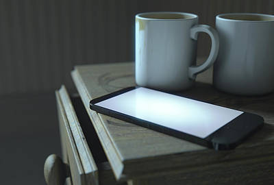 Bedside Table And Cellphone Poster