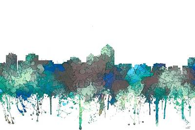 Poster featuring the digital art Albuquerque New Mexico Skyline by Marlene Watson
