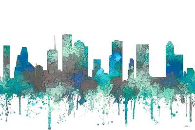 Poster featuring the digital art Houston Texas Skyline by Marlene Watson