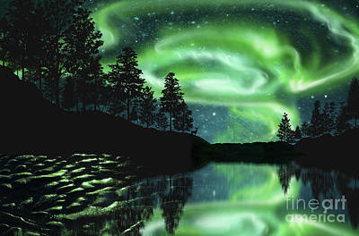 Poster featuring the photograph Aurora Borealis by Setsiri Silapasuwanchai