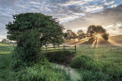 Beautiful Vibrant Summer Sunrise Over English Countryside Landsc Poster by Matthew Gibson