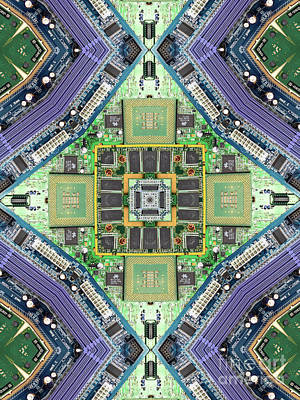 Computer Circuit Board Kaleidoscopic Design Poster