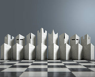 Modern Chess Set  Poster