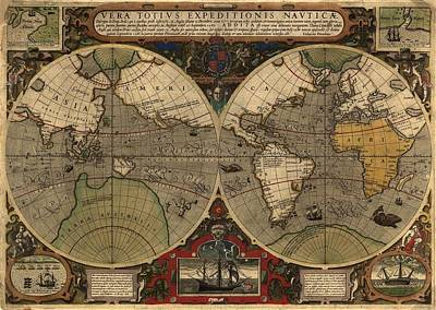 1595 World Map Shows Routes Poster by Everett