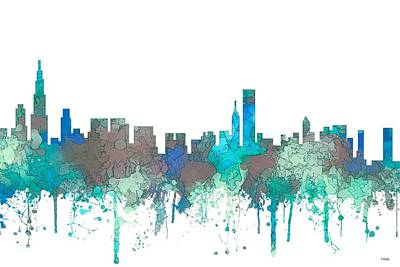 Poster featuring the digital art Chicago Illinois Skyline by Marlene Watson