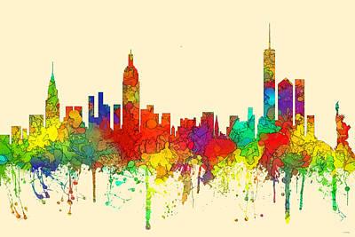 New York New York Skyline  Poster by Marlene Watson