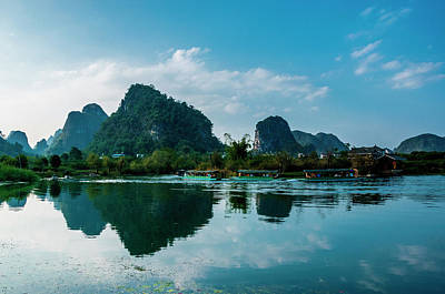 The Karst Mountains And River Scenery Poster