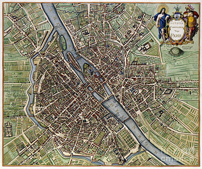 1657 Plan Of Paris Poster