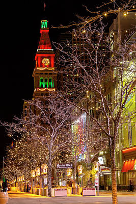 16th Street Mall Denver Co Holiday Lights Poster by Teri Virbickis