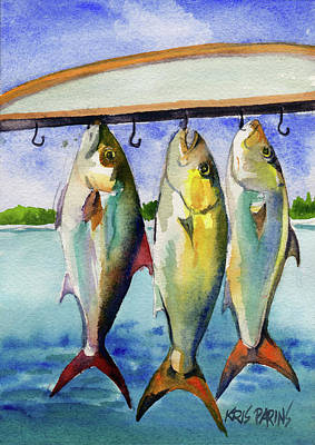 Poster featuring the painting Amber Jack by Kris Parins