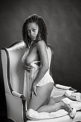Neemah African American Nude Girl In Sexy Sensual Black And Whit Poster by Kendree Miller