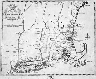 1702 Map Of New England And New York Poster